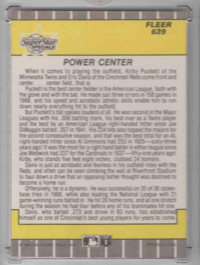 1989 Fleer SuperStar Specials Kirby Puckett-Eric Davis #639 card back image
