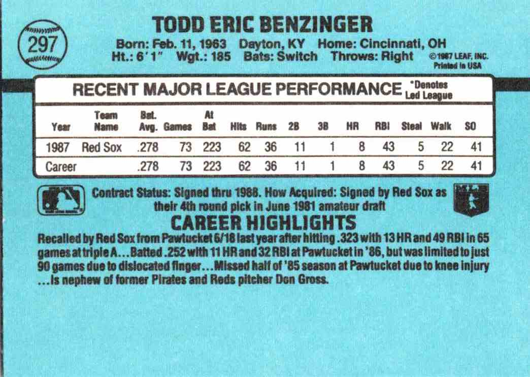 1988 Donruss Todd Benzinger #297 card back image