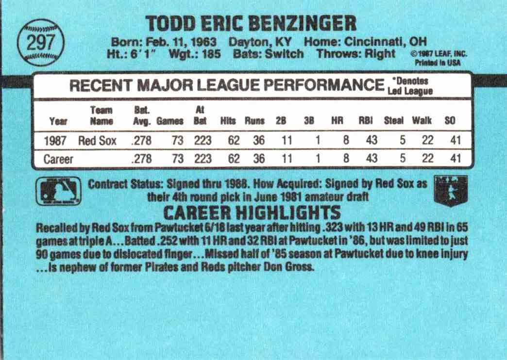 1988 Donruss Todd Benzinger #297 card back image