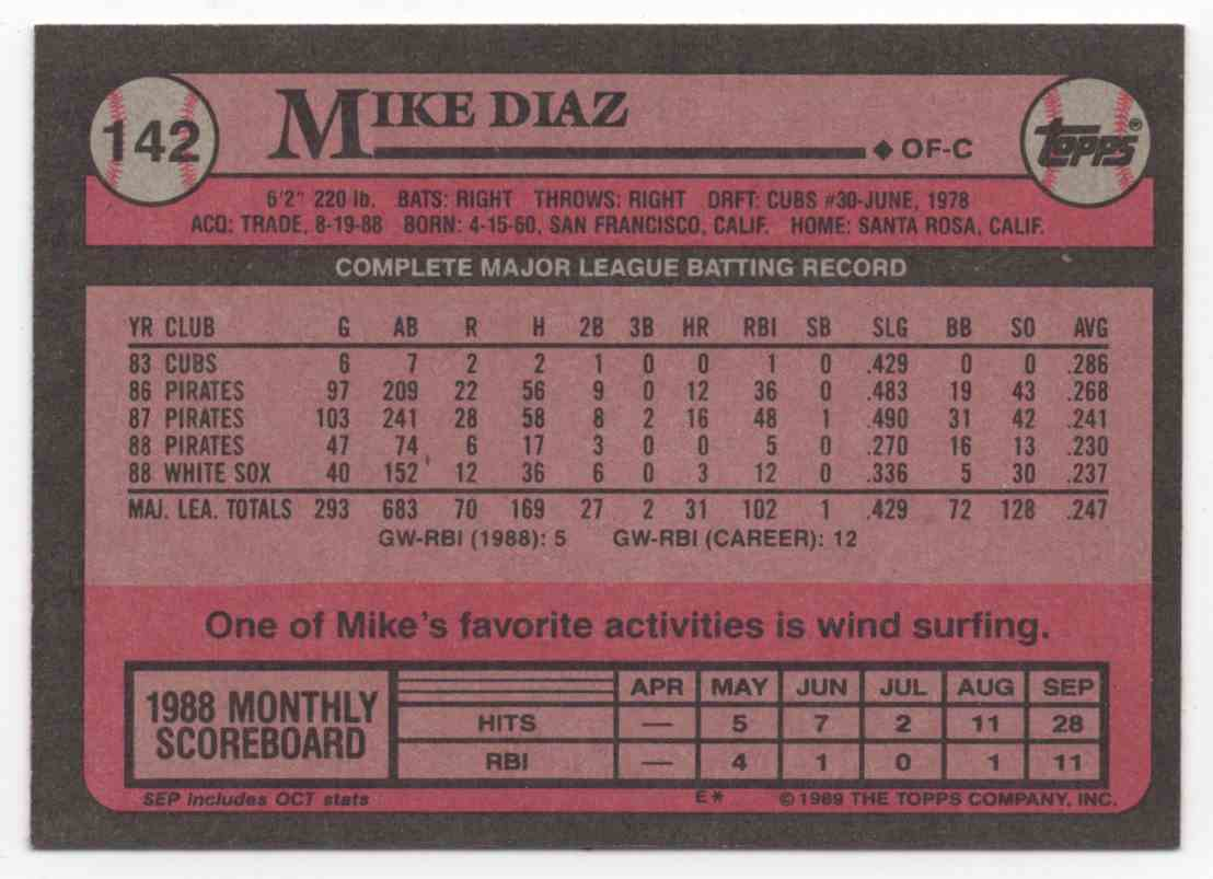 1989 Topps Mike Diaz #142 card back image