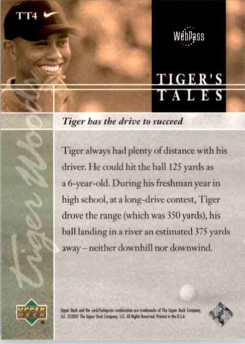 2001 Upper Deck Tiger's Tales Tiger Woods #TT4 card back image