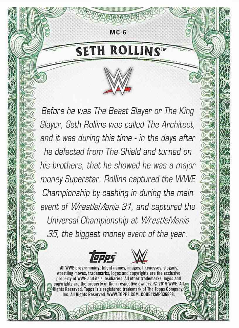 2019 Topps Wwe Money In Then Bank Money Cards Seth Rollins #MC6 card back image