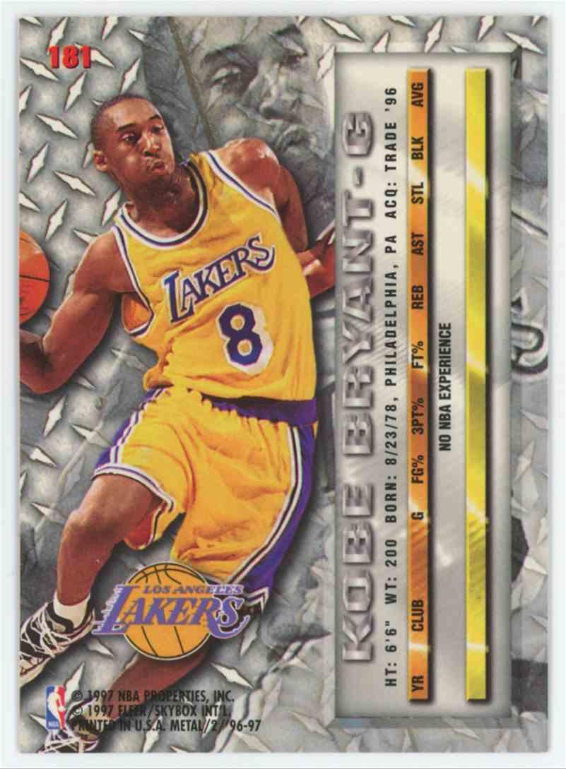 1996-97 Fleer Metal 1996-97 Fleer Metal Kobe Bryant RC #181 Rookie Mint & Sharp A3 #181 card back image