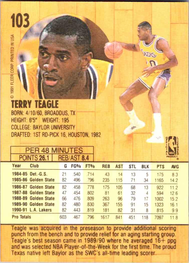 1991-92 Fleer Terry Teagle #103 card back image