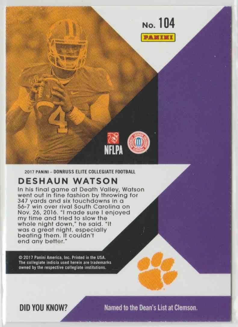 2017 Elite Draft Picks Deshaun Watson #104 card back image