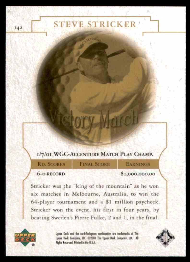 2001 Upper Deck Steve Stricker VM #142 card back image