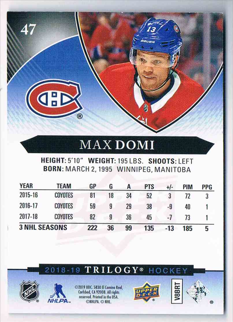 2018-19 Trilogy Blue Max Domi #47 card back image
