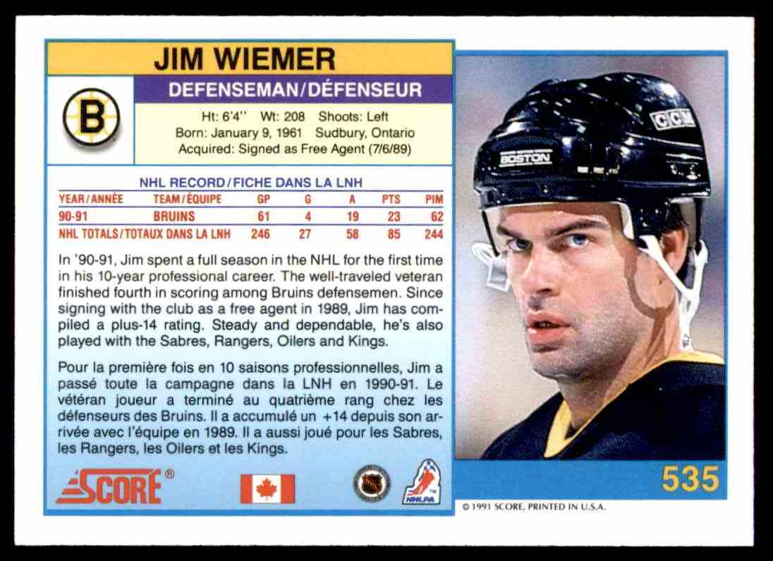 1991-92 Score Canadian Bilingual Jim Wiemer #535 card back image