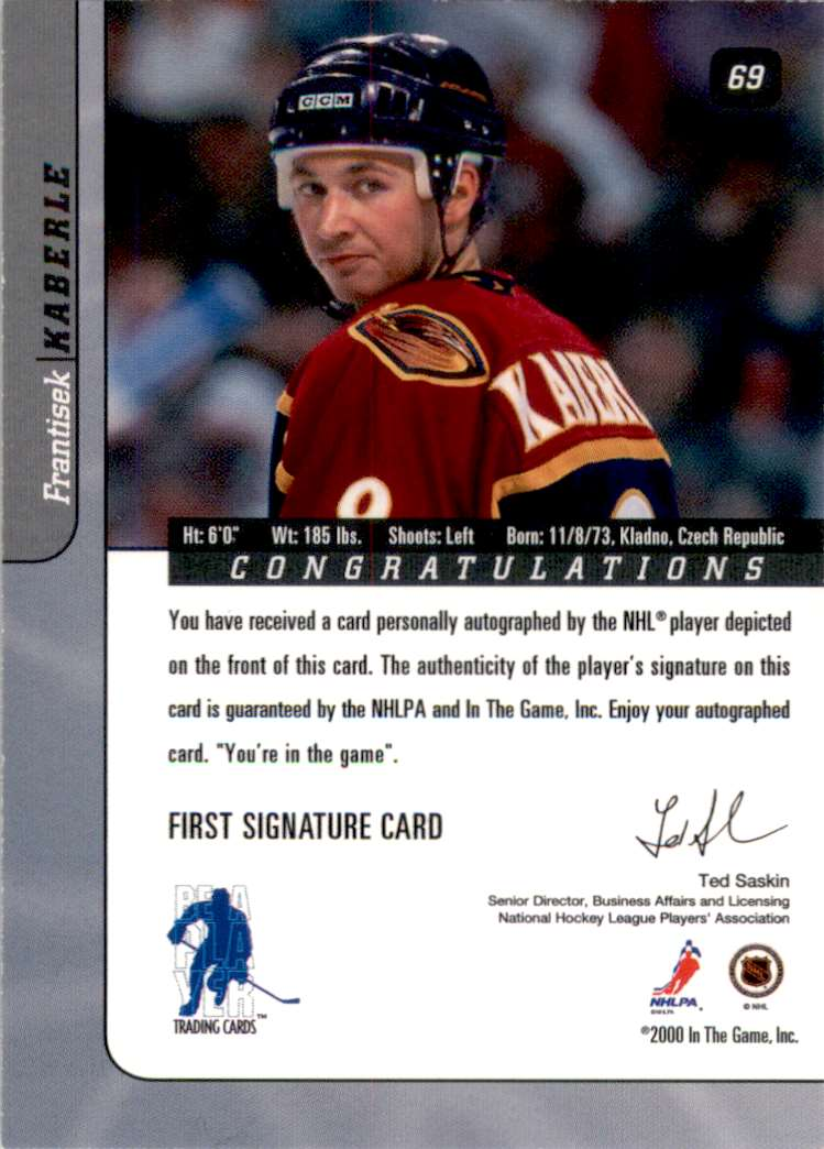 2000-01 Bap Signature Series Autographs Frantisek Kaberle #69 card back image