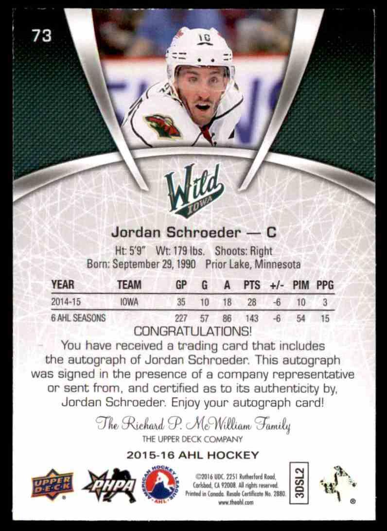 2015-16 Upper Deck AHL Jordan Schroeder #73 card back image