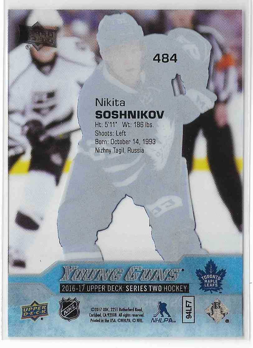 2016-17 Upper Deck Nikita Soshnikov #484 card back image