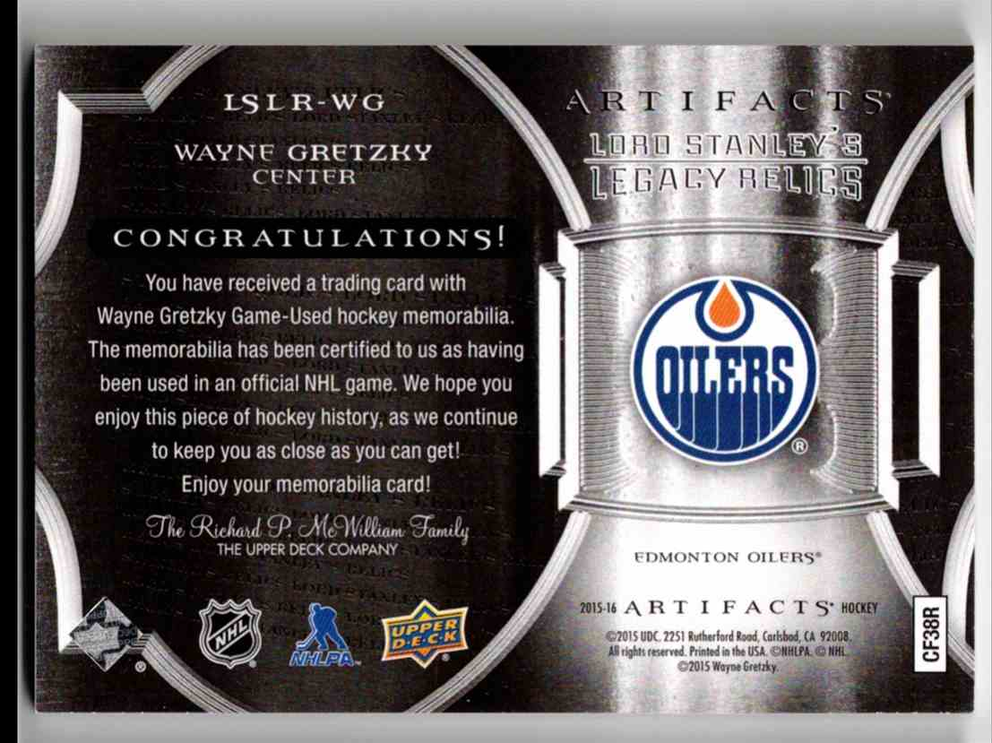 2015-16 Upper Deck Artifacts Lord Stanley's Legacy Relics Gold Wayne Gretzky #LSLR-WG card back image