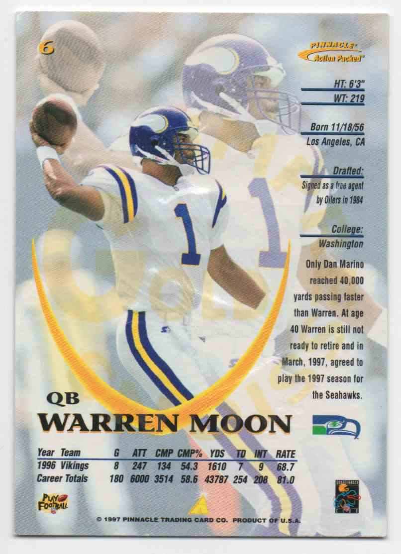 1997 Action Packed Gold Impressions Warren Moon #6 card back image