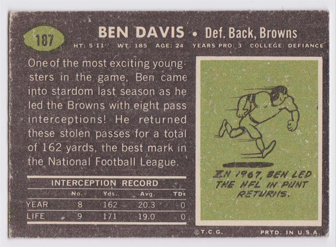 1967 Topps Ben Davis #187 card back image