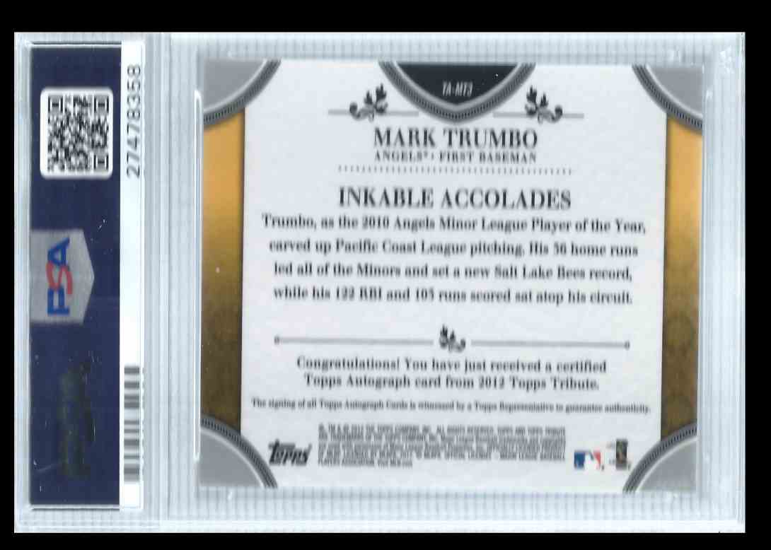2012 Topps Tribute Mark Trumbo #MT3 card back image