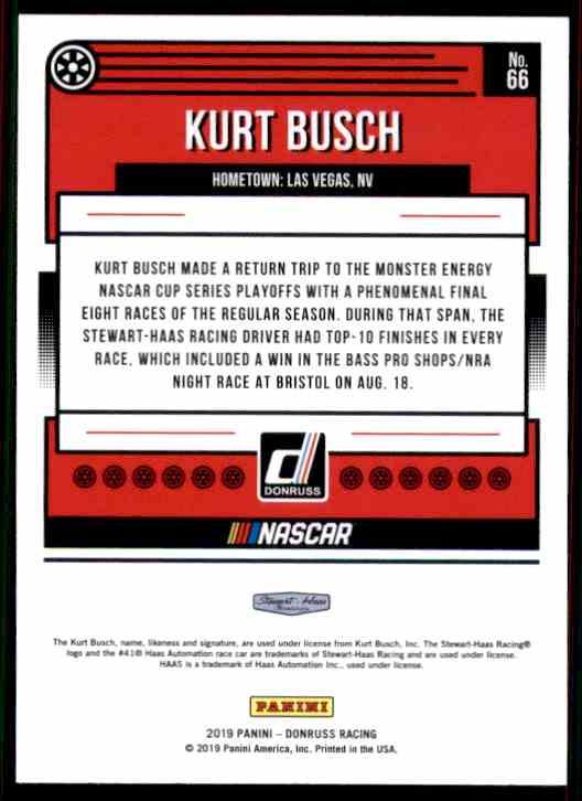 2019 Donruss Kurt Busch #66 card back image