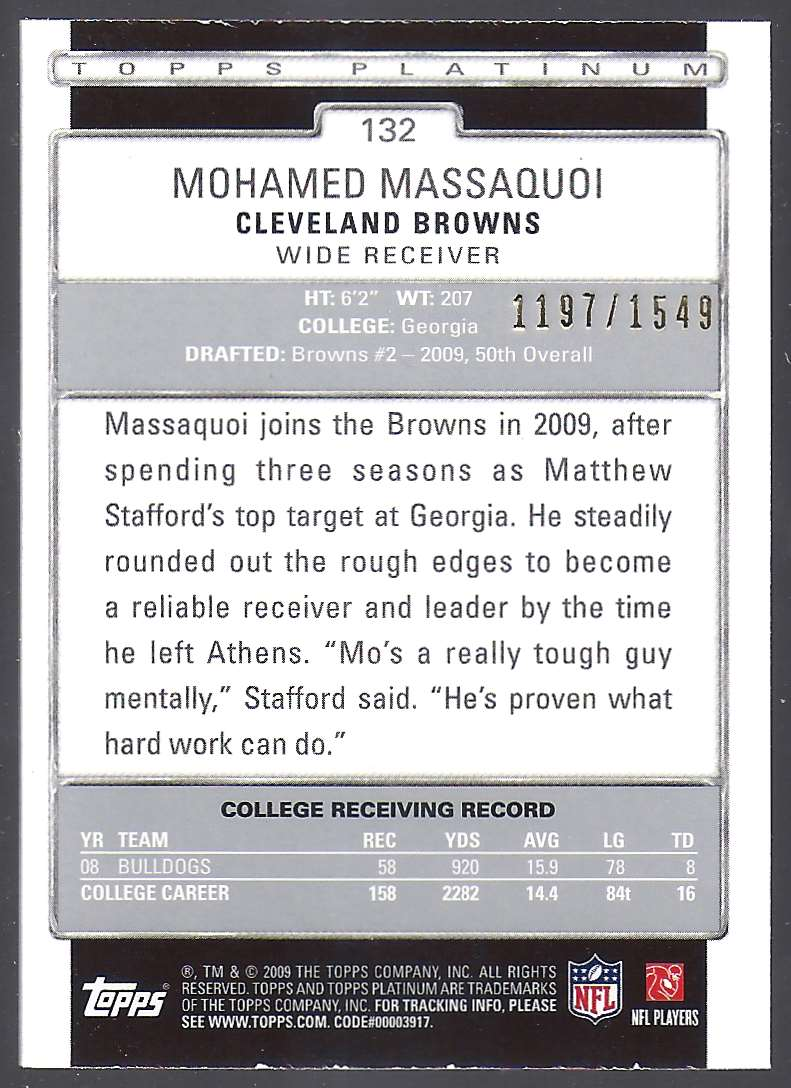 2009 Topps Platinum Rookie Platinum Refractors Mohamed Massaquoi #132 card back image