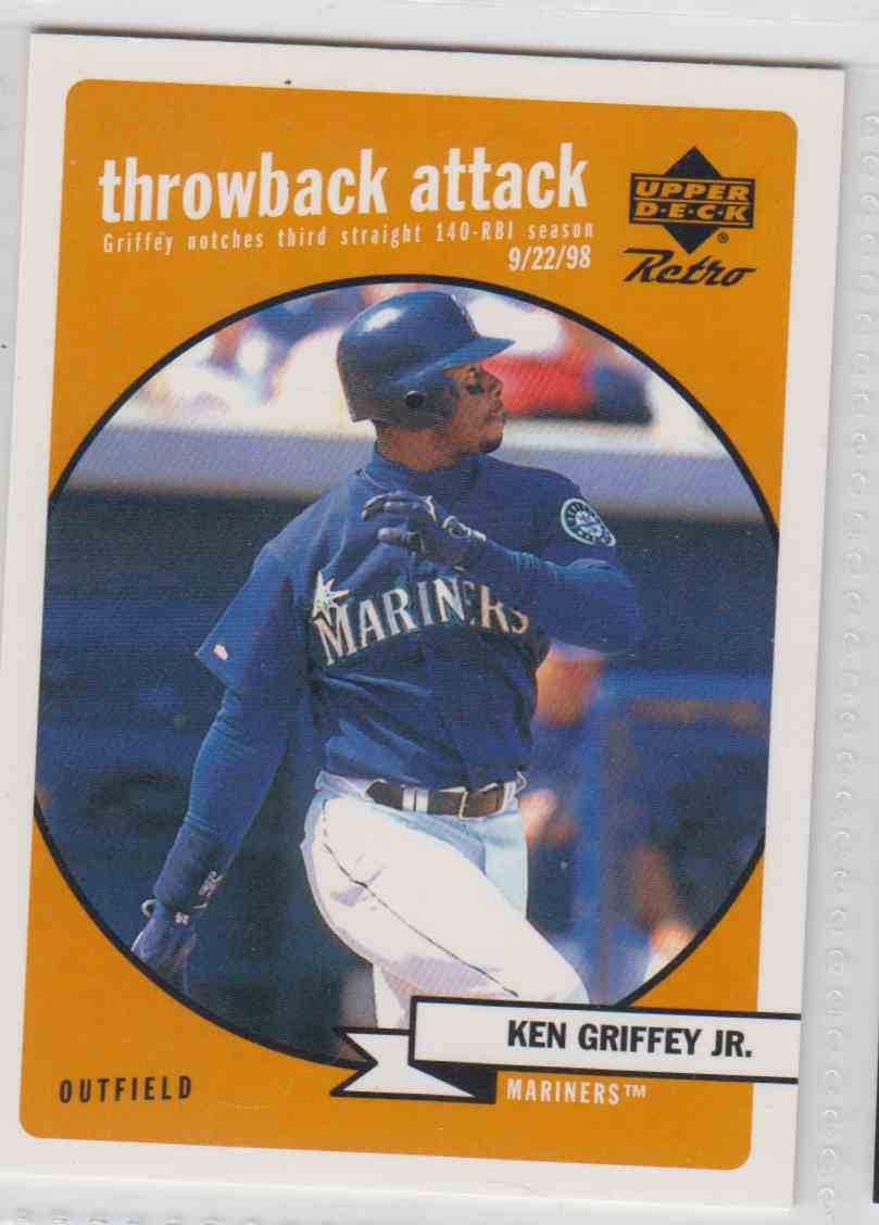 06c5c8185f 1999 Upper Deck Retro Throwback Attack Ken Griffey JR. #T-1 card front