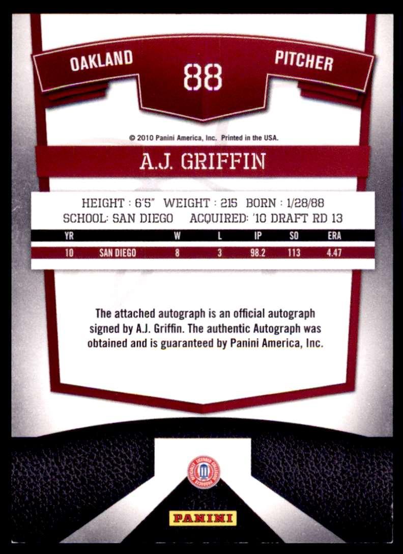 2010 Donruss Elite Extra Edition Franchise Futures Signatures A.J. Griffin #88 card back image