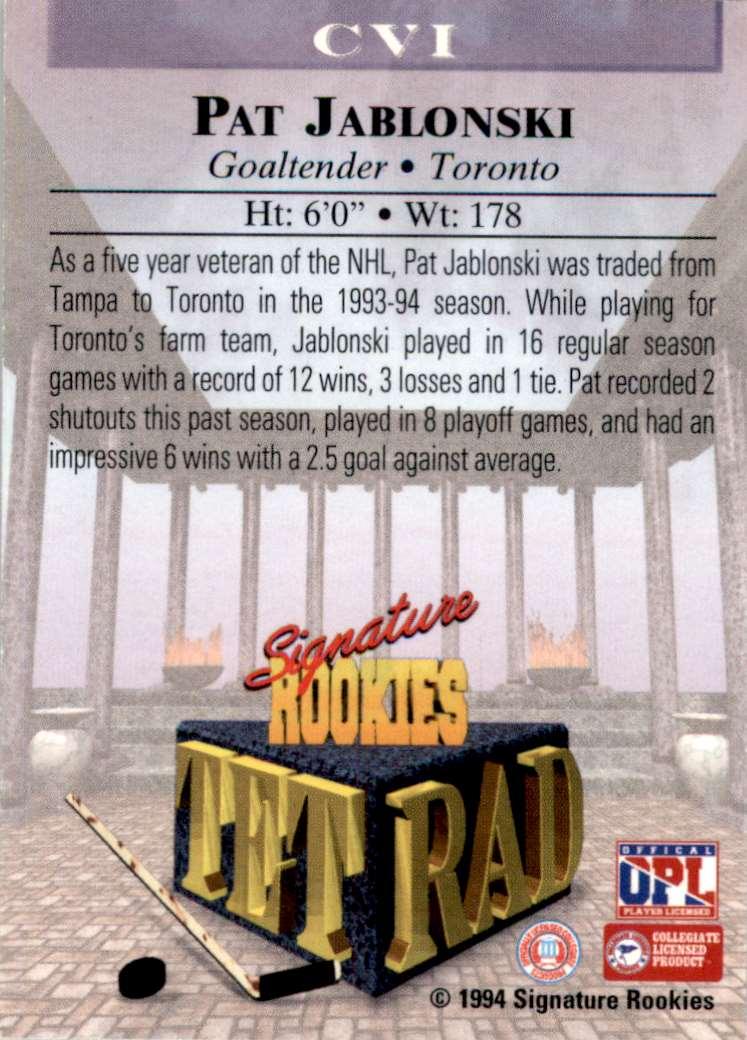1994-95 Signature Rookies Tetrad Autographs Pat Jablonski #CV1 card back image
