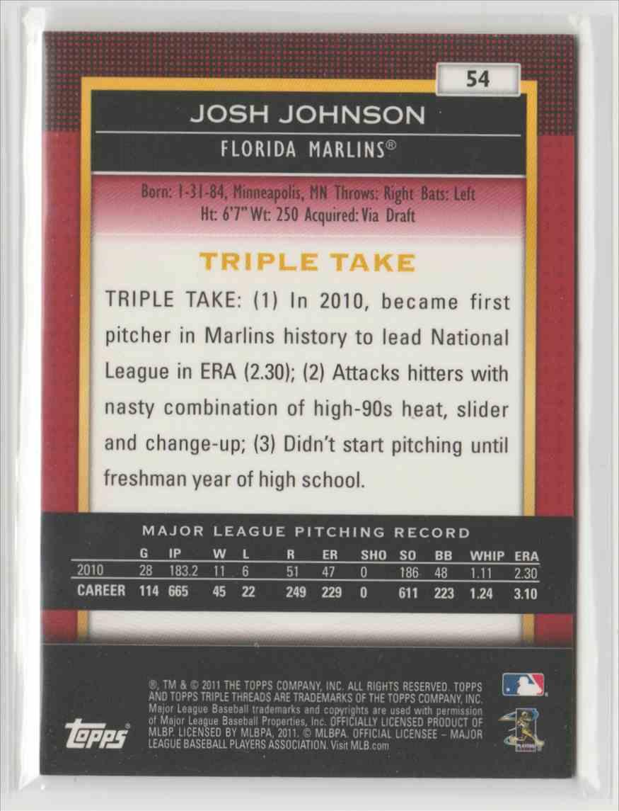 2011 Topps Triple Threads Josh Johnson #54 card back image