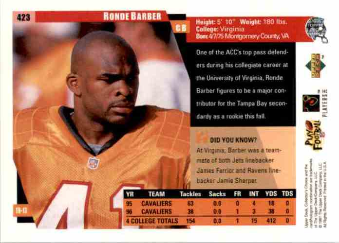 1997 Collector's Choice Ronde Barber RC #423 card back image