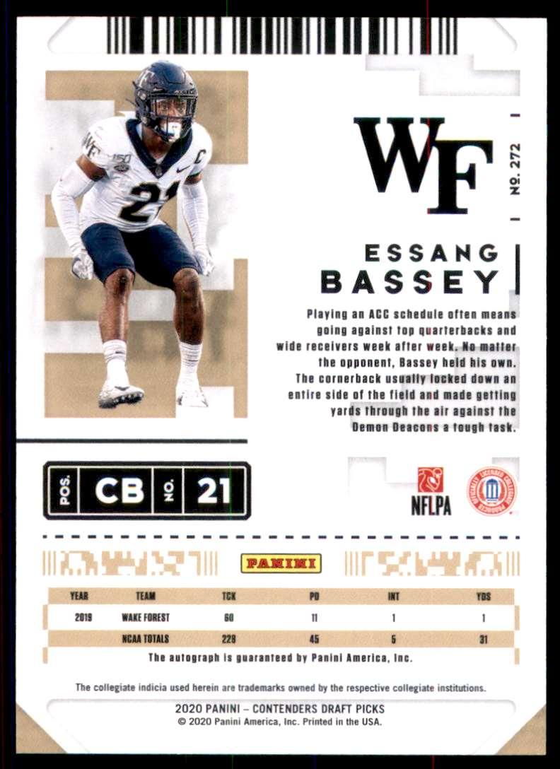 2020 Panini Contenders Draft Picks Essang Bassey Au RC #272 card back image