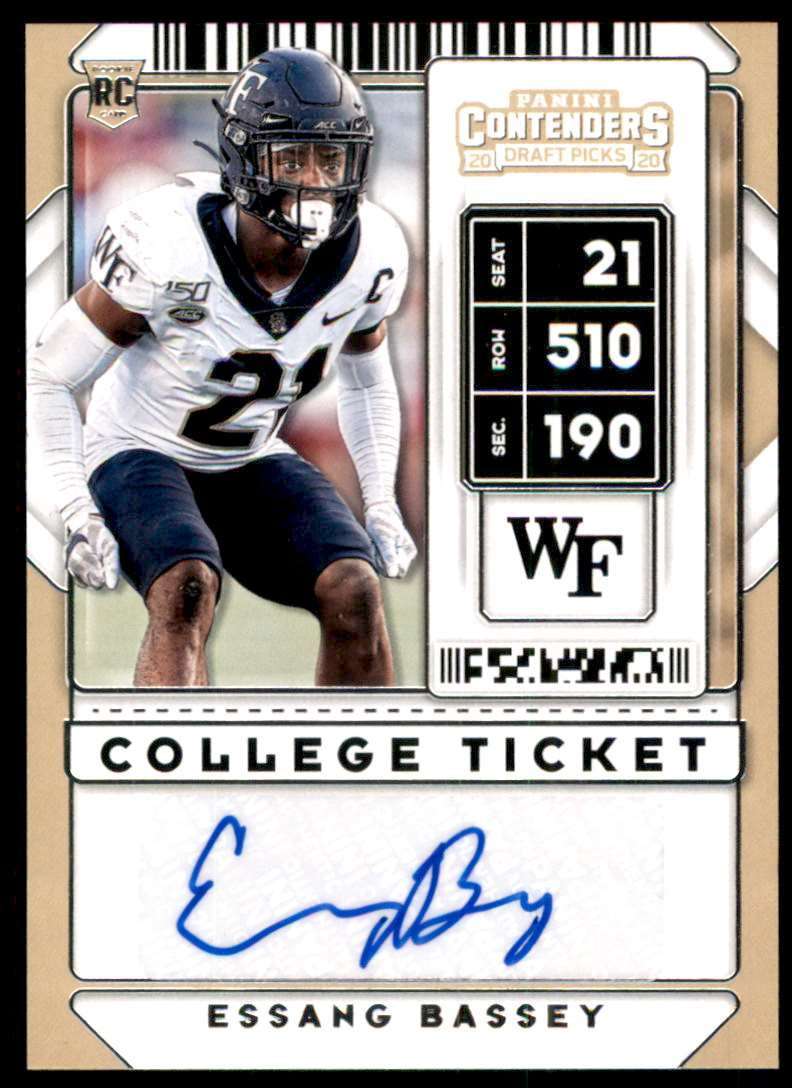 2020 Panini Contenders Draft Picks Essang Bassey Au RC #272 card front image