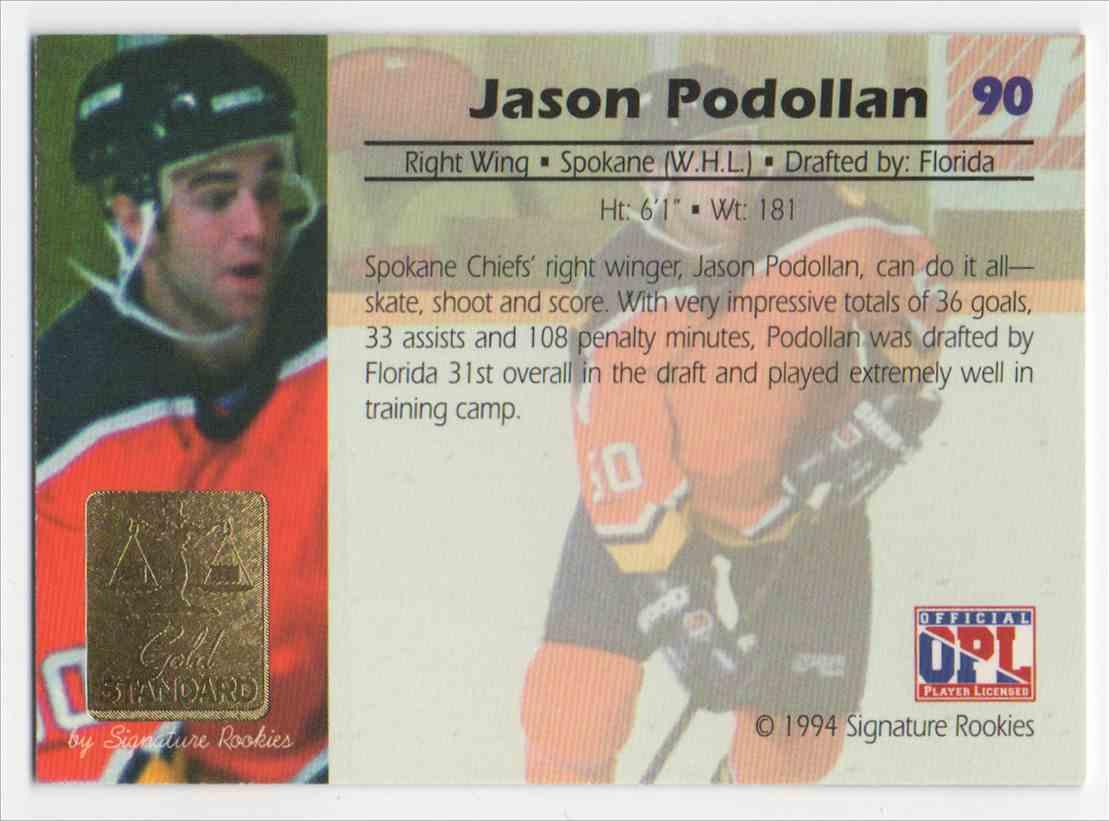 1994-95 Signature Rookies Gold Standard Jason Podollan #90 card back image