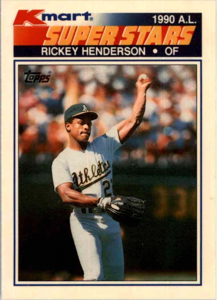 1990 Topps Kmart Superstars Rickey Henderson 23 On