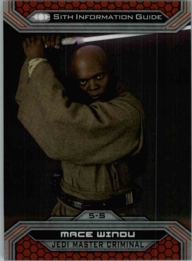 2015 Topps Chrome Star Wars Sith Information Guide Mace Windu #5-S card front image