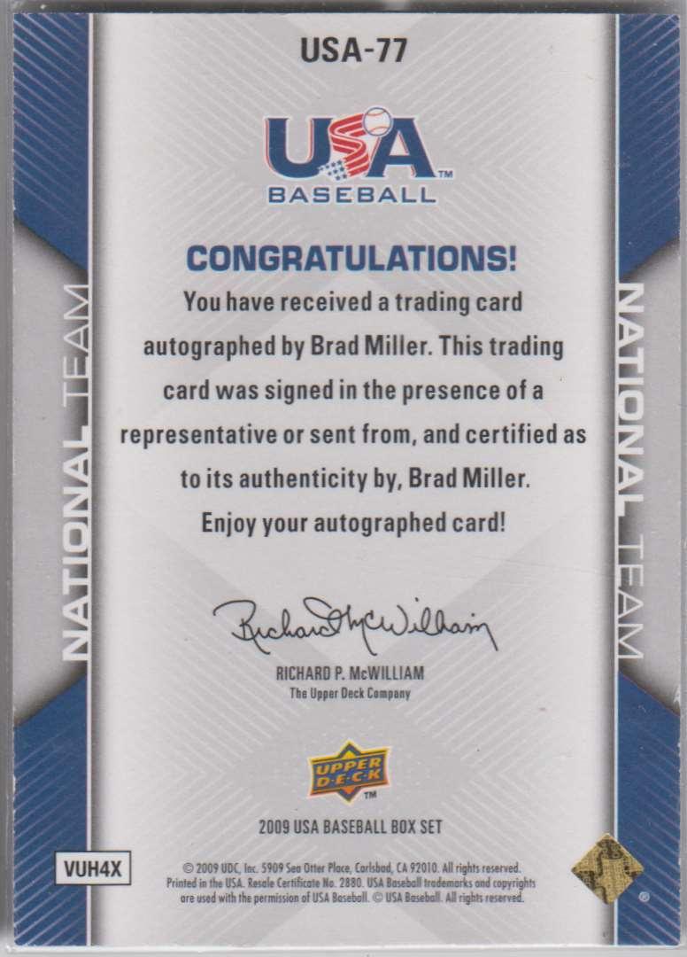 2009 Upper Deck 2009-10 USA Baseball Brad Miller #USA-77 card back image