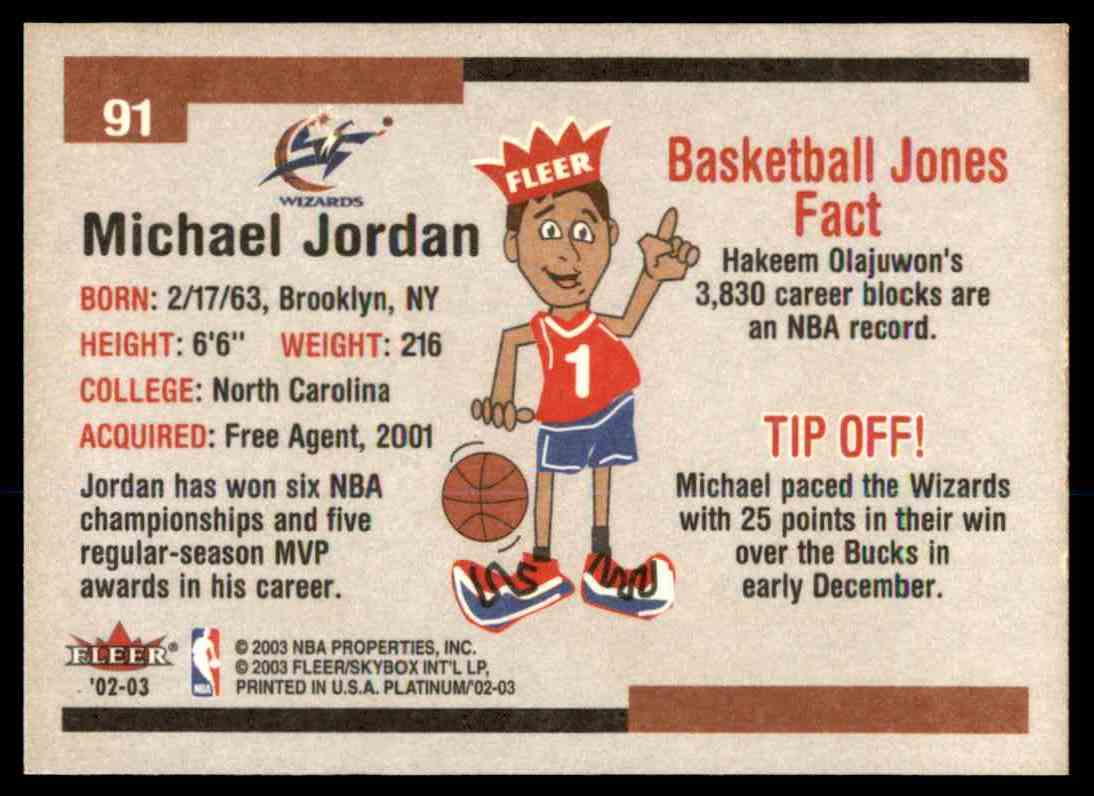 Verzamelingen 2002-03 Fleer Platinum #91 Michael Jordan Washington Wizards Basketball Card Verzamelkaarten: sport