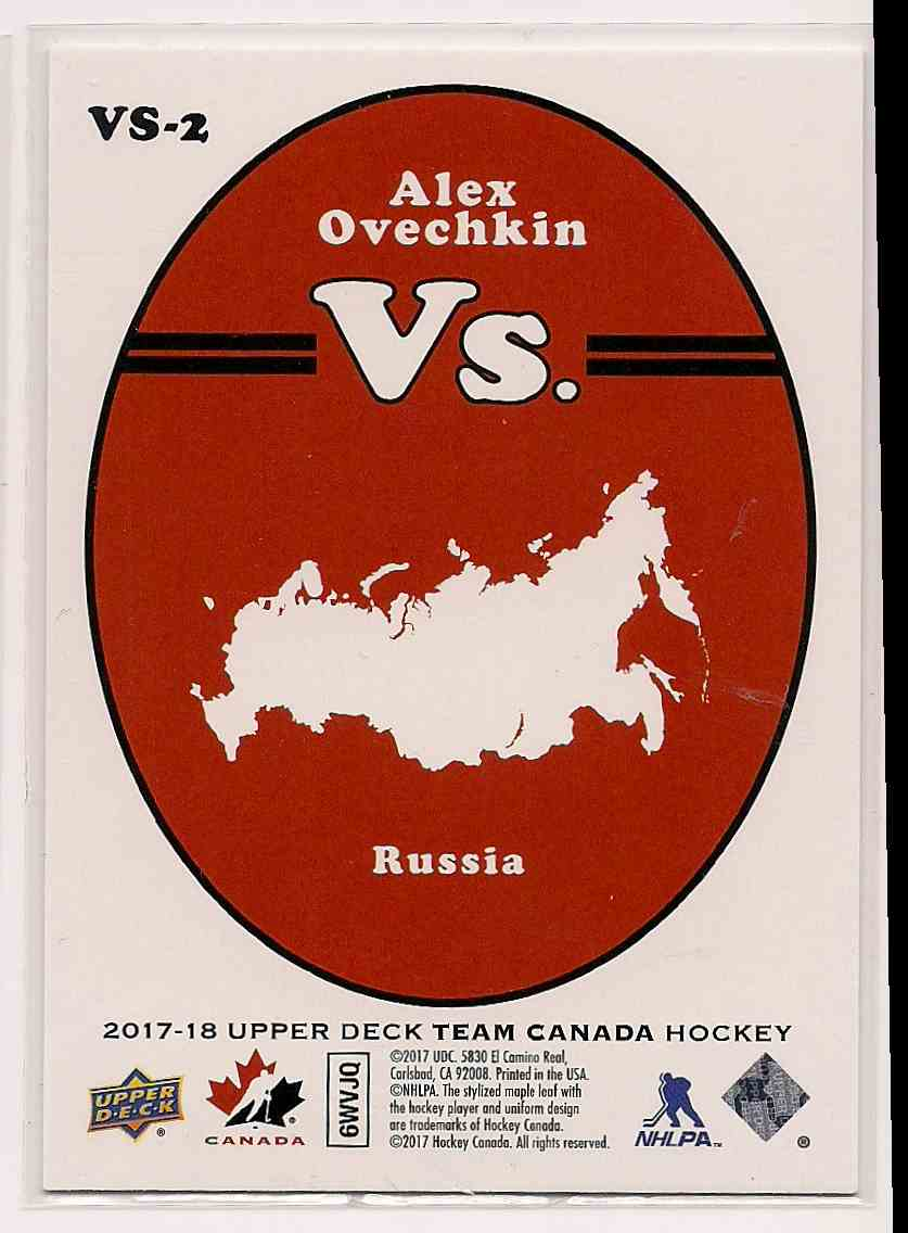 2017-18 Upper Deck Team Canada Vs. Alex Ovechkin #VS-2 card back image