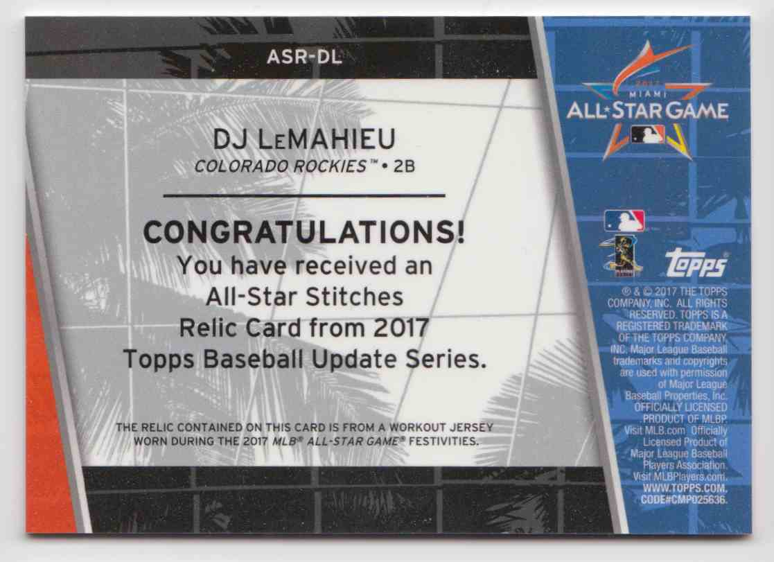 2017 Topps Update All-Star Stitches Relics D.J. LeMahieu #ASR-DL card back image