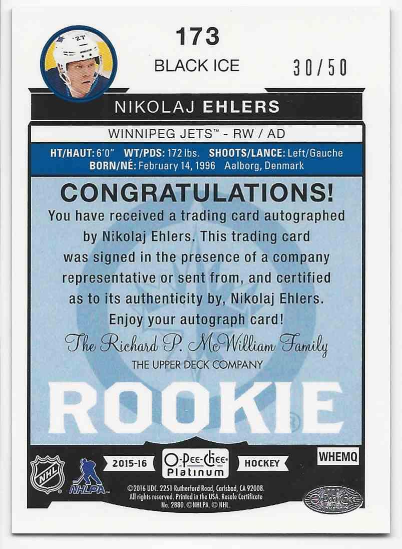 2015-16 O-Pee-Chee Platinum Black Ice Nikolaj Ehlers #173 card back image