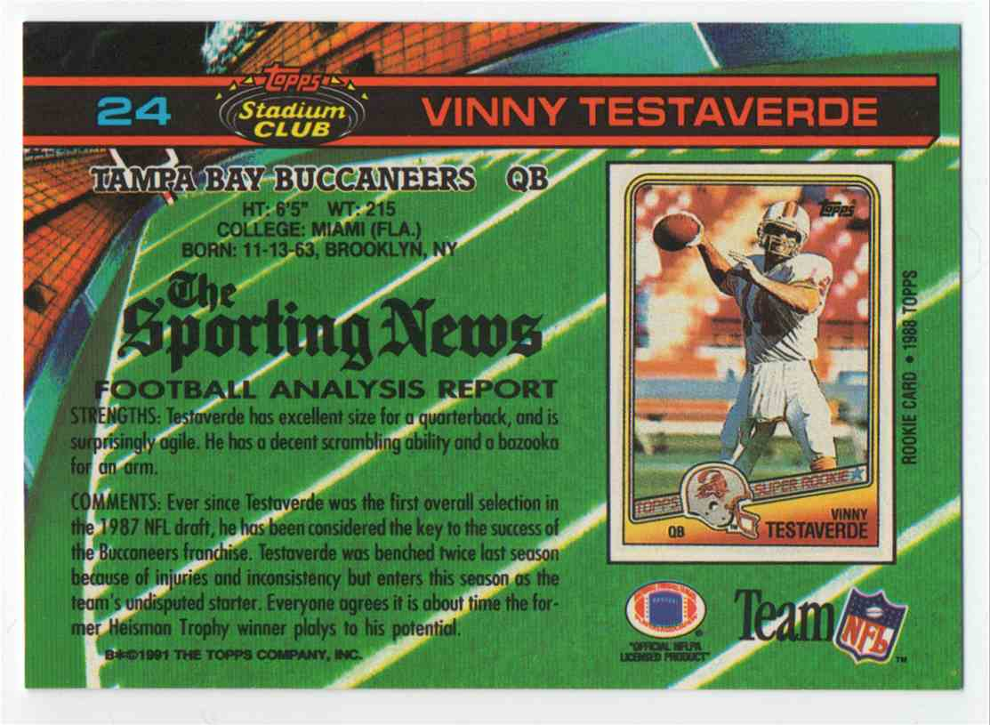 1991 Stadium Club Vinny Testaverde #24 card back image