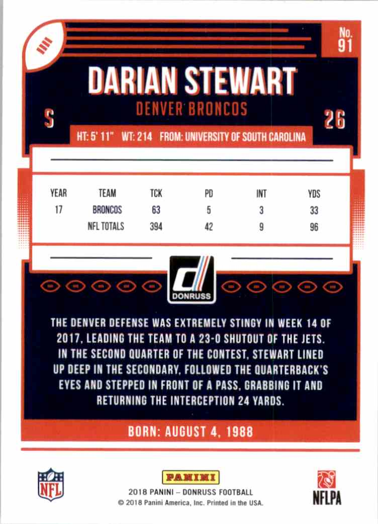 2018 Donruss Darian Stewart #91 card back image