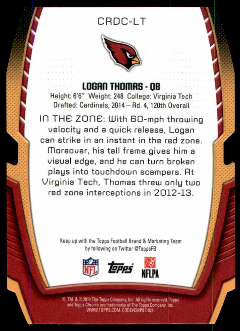 2014 Topps Chrome Rookie Die Cuts Logan Thomas #CRDCLT card back image