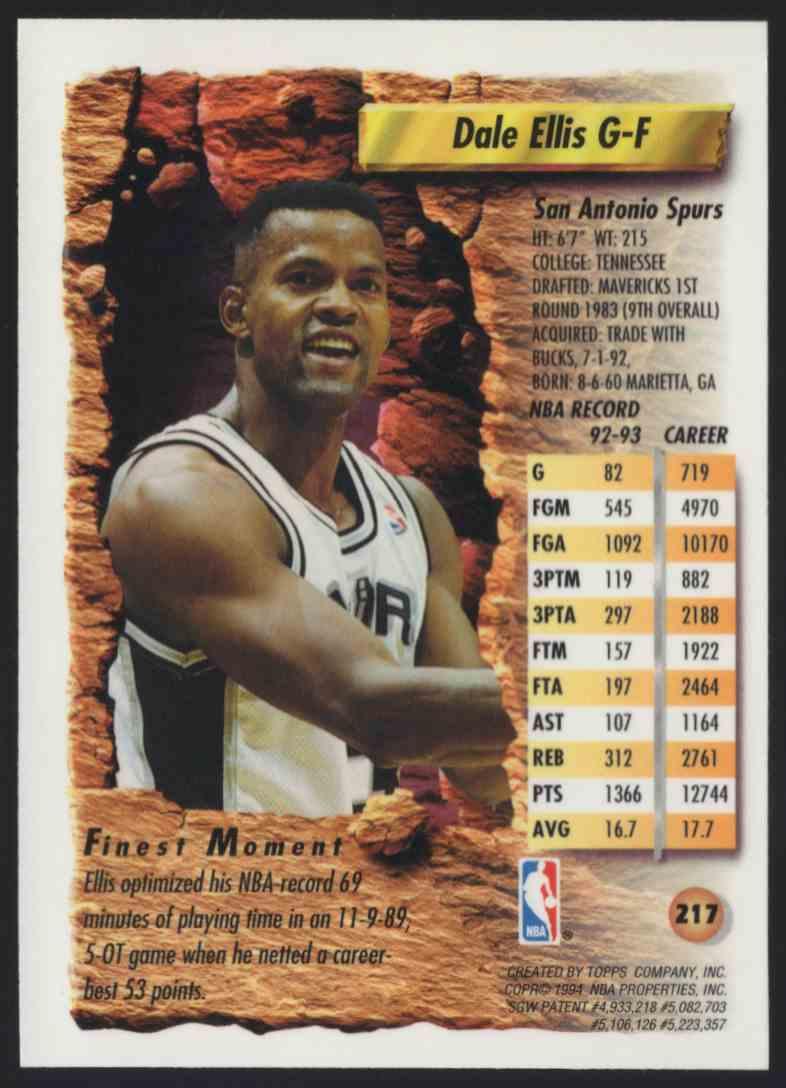 1993-94 Finest Dale Ellis #217 card back image