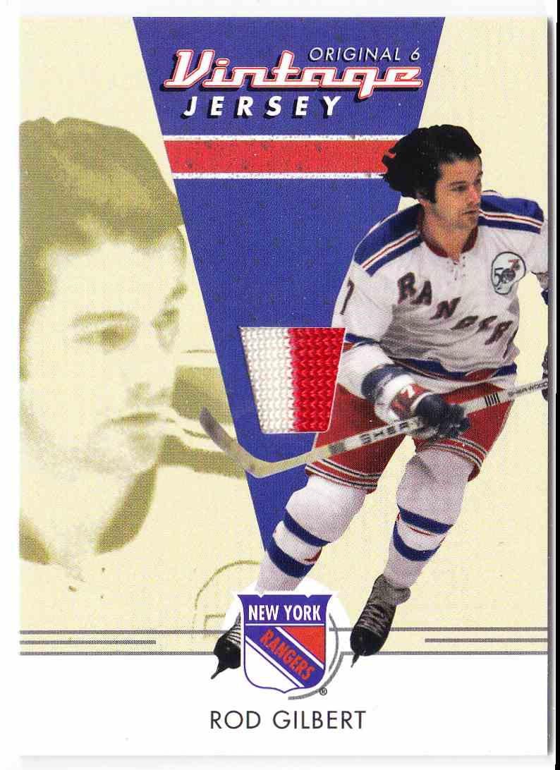 2003-04 Parkhurst Original Six New York Peanut Butter Memorabilia Rod Gilbert #NM-32 card front image