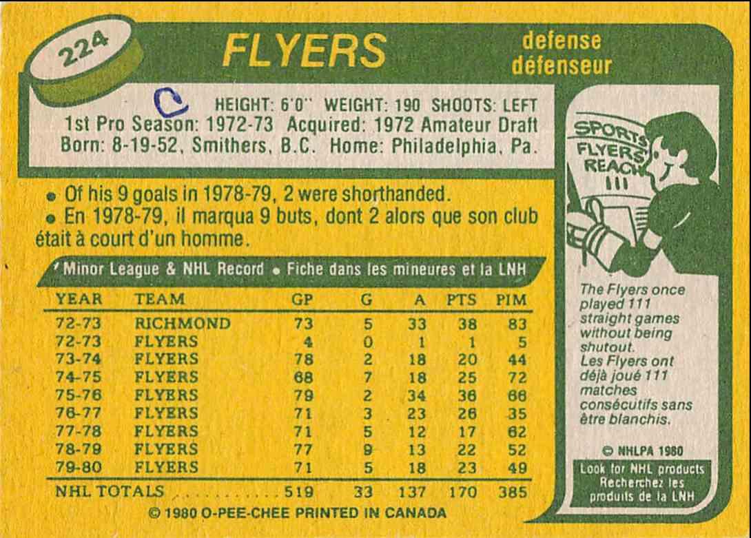 1980-81 O-Pee-Chee Jim Watson #224 card back image