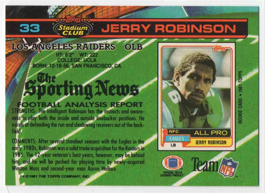 1991 Stadium Club Jerry Robinson #33 card back image