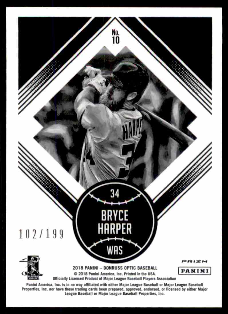 2018 Donruss Optic Orange Diamond Kings Bryce Harper #10 card back image