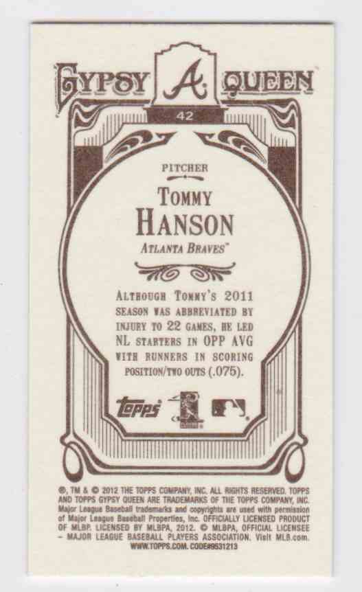 Real Card Back Image 2012 Topps Gypsy Queen Mini Variation Tommy Hanson 42