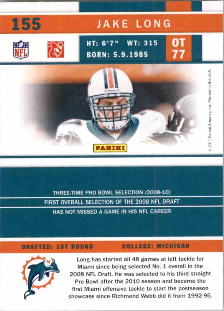 Real Card Back Image 2011 Score Jake Long 155
