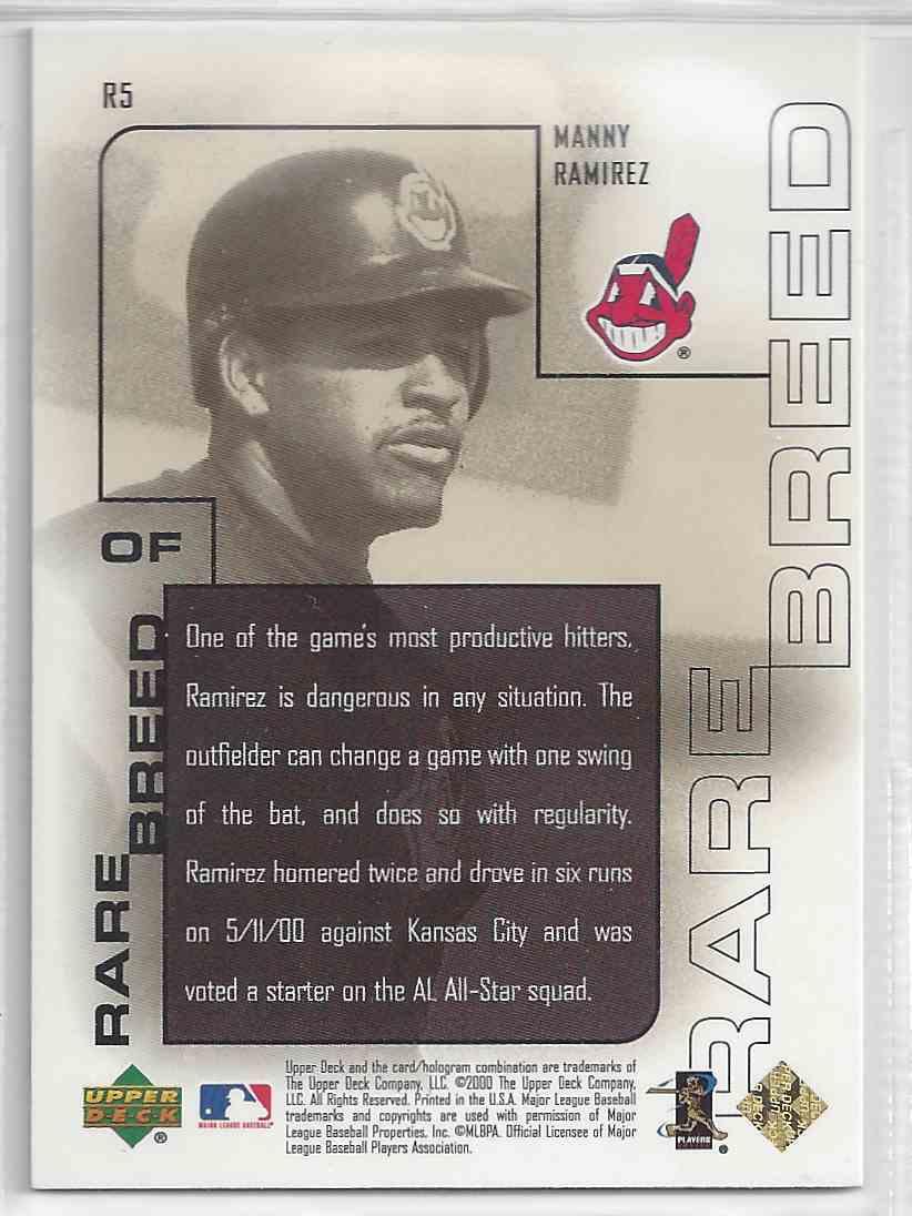 2000 Upper Deck Pros & Prospects Rare Breed Manny Ramirez #R5 card back image