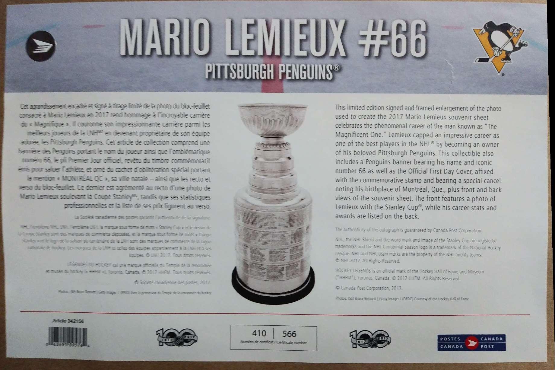 2020-21 Large Frame Mario Lemieux #NNO card back image