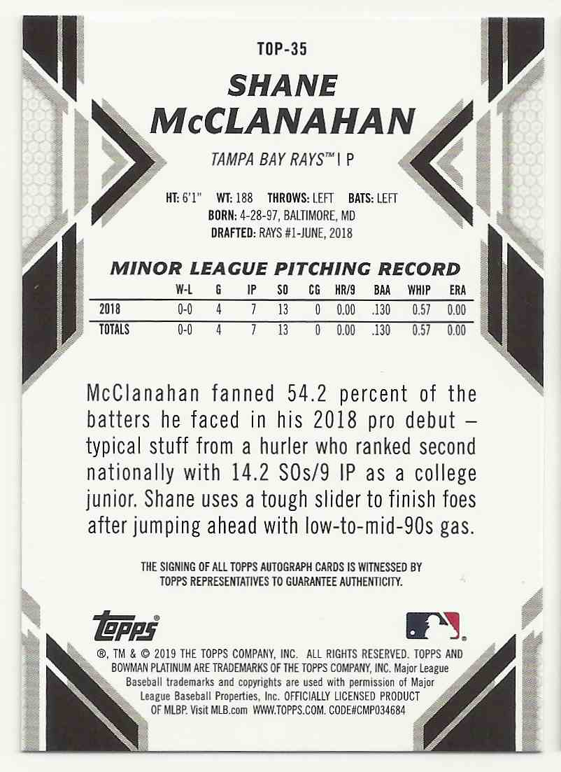 2019 Bowman Platinum Top Prospects Autographs Shane Mcclanahan #TOP-35 card back image