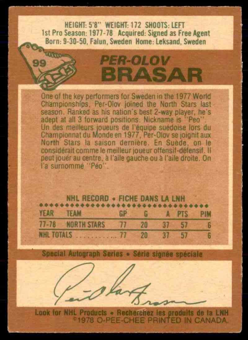 1978-79 O-Pee-Chee Per-Olov Brasar #99 card back image